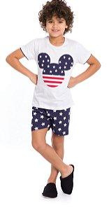 Pijama Infantil Menino Mickey Branco e Azul Marinho - Coleção Família