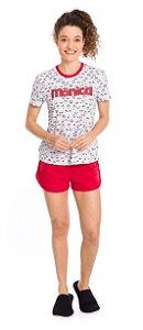Pijama Adulto Feminino Mônica Branco Estampado - Coleção Mãe e Filha