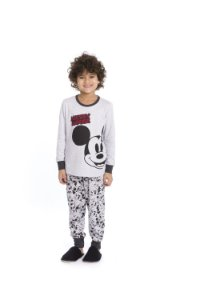 Pijama Mickey Disney - Cinza Estampado
