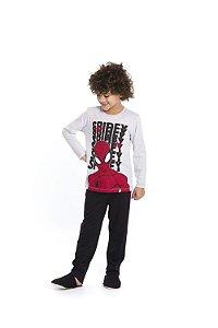Pijama Homem Aranha - Marvel - Cinza e Preto - Infantil