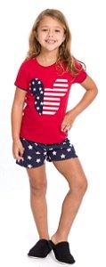 Pijama Infantil Menina Mickey Vermelho e Azul Marinho - Coleção Família