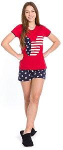 Pijama Juvenil Menina Mickey Vermelho e Azul Marinho - Coleção Família