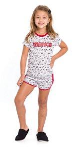 Pijama Infantil Menina Mônica Branco Estampado - Coleção Mãe e Filha