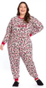 Pijama Adulto Plus Size Minnie Branco Estampado - Coleção Mãe e Filha
