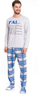 Pijama Adulto Pai Cinza e Azul Xadrez - Coleção Família