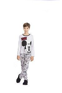Pijama Mickey Disney - Cinza Estampado - Juvenil