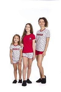 Pijama Short Doll Mônica - Branco Estampado - Coleção Mãe e Filha