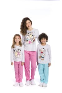 Pijama Turma da Mônica - Cinza - Coleção Mãe e Filhos