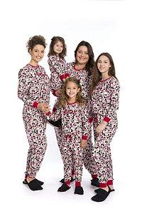 Pijama Minnie e Mickey Disney- Branco Estampado - Coleção Mãe e Filha