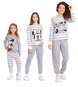 Pijama Minnie Disney - Cinza e Branco - Coleção Mãe e Filha