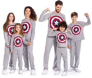 Pijama Capitão América - Coleção Família - Cinza