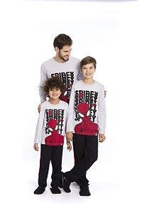Pijama Homem Aranha Marvel - Cinza - Coleção Pai e Filho