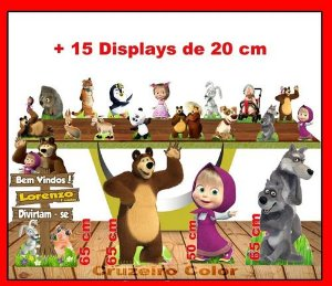 Display Masha Eo Urso , Totem Enfeite De Aniversario