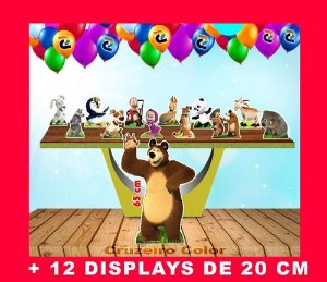 Totem Masha Eo Urso Displays De Mesa 65 Cm E 20 Cm