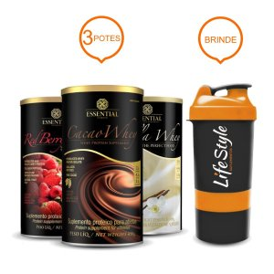Combo 3 Potes Essential Nutrition - Red Berry Whey, Vanilla Whey e Cacao Whey
