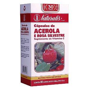 Acerola e Rosa Silvestre (500mg) 80 Cápsulas - Naturalis