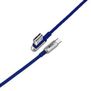 CABO MICRO USB AZUL COM CONECTOR REVERSIVEL 90 GRAUS TURBO 2.4A CZ102V