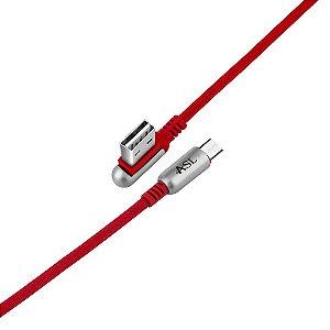 CABO MICRO USB VERMELHO COM CONECTOR REVERSIVEL 90 GRAUS TURBO 2.4A CZ102V
