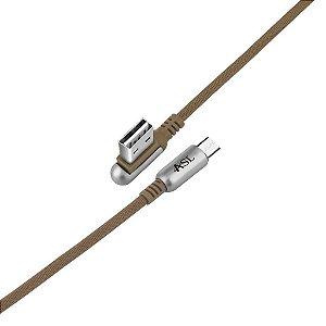 CABO MICRO USB MARROM COM CONECTOR REVERSIVEL 90 GRAUS TURBO 2.4A CZ102V