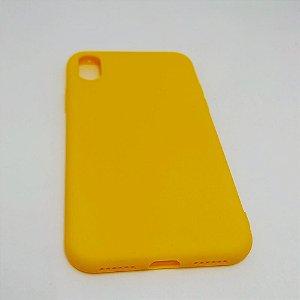 Capa flexível colorida para iPhone X - Amarelo