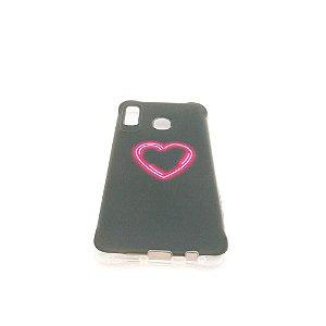 Capa para celular do Samsung A20 / A30 - Black Coração