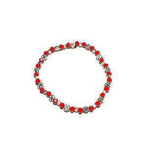 Pulseira feminina com miçangas vermelhas Trevo Simples