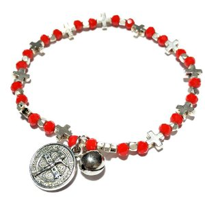 Pulseira feminina com miçangas vermelhas Jesus
