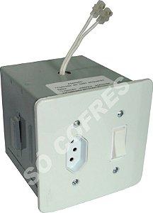 Cofre Tomada Pequeno com Tomada e Interruptor - Altura 10 X Largura 10 X Profundidade 11,5 cm - para Embutir