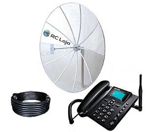 Kit Telefone Rural Alto Ganho 230cm 800/900Mhz