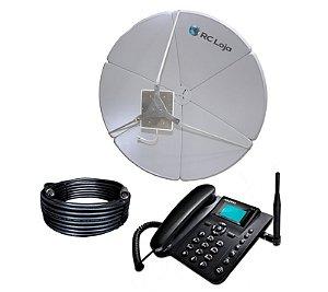 Kit Antena 40dbi + Cabo + Telefone Rural