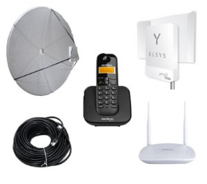 Kit Antena Celular e Internet Rural Wifi 60dbi