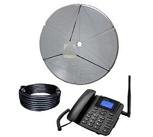 Kit Antena Parabólica Alto Ganho + Cabo + Telefone Rural De Mesa