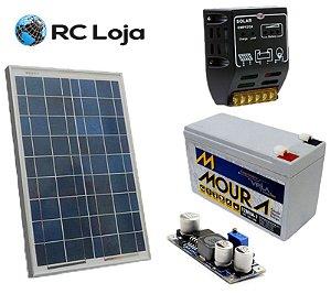 Kit Painel Solar 10w + Bateria 7ah + Controlador De Carga