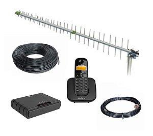 Kit Antena + Interface Celular Rural para até 1,5km de fio