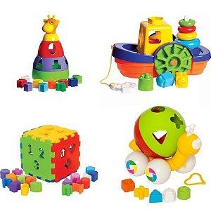 Kit 4 Brinquedos Didáticos - Caracol, Barco, Cubo e Girafa