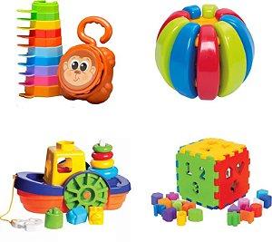 Kit 4 Brinquedos Didáticos - Empilha Baby Macaco, Baby Gomos, Barco e Cubo