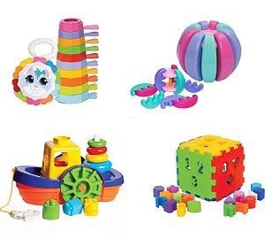 Kit 4 Brinquedos Didáticos - Empilha Baby Gatinha, Baby Gomos, Barco e Cubo
