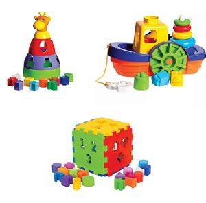 Kit 3 Brinquedos - Girafa, Barco e Cubo