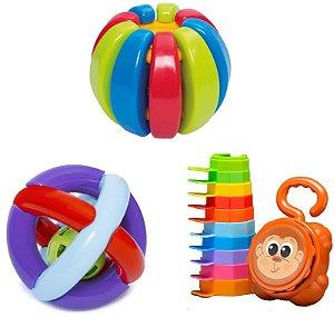 Kit 3 Brinquedos Didáticos - Baby Gomos, Bola Maluquinha e Empilha Baby Macaco