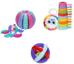 Kit 3 Brinquedos Didáticos - Baby Gomos, Bola Maluquinha e Empilha Baby Gatinha