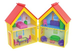 Casa Casinha De Bonecas Mobiliada Mdf Yellow House Junges