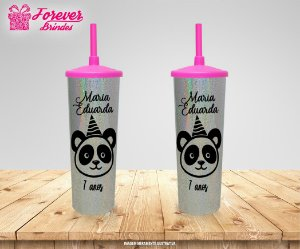 Copo Long Drink Tampa e Canudo Holográfico Panda
