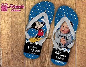 Chinelo de Aniversário Infantil Mickey Com Foto
