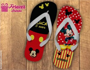 Chinelo De Aniversário Infantil Mickey Menino e Menina