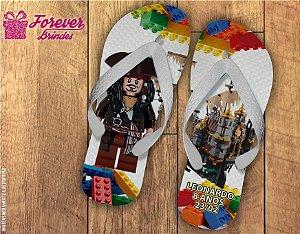 Chinelo De Aniversário Infantil Piratas Do Caribe Lego