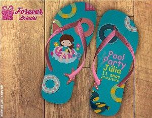 Chinelo De Aniversário Infantil Pool Party Menina