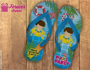 Chinelo De Aniversário Infantil Pool Party Menino