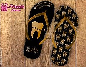 Chinelo Formatura Odontologia Dourado