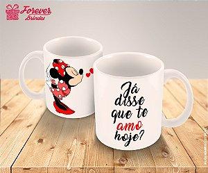 Caneca Porcelana Minnie Coração Disney