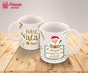 Caneca Porcelana Personalizada Natal Dourado